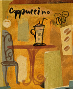 Coffee Drinking Digital Art Prints - Cappuccino On Table In Caf_ Print by Cargo