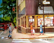Montreal Street Life Paintings - Cappucino  Cafe At Beautys Restaurant by Carole Spandau