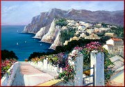 Italian Landscapes Paintings - Capri Italy by Antonio Iannicelli