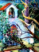 Glass Drawings Originals - Capri Italy Chapel by Mindy Newman