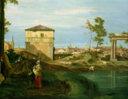 Italian Landscape Painting Prints - Capriccio with Motifs from Padua Print by Canaletto