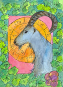 Mountain Goat Drawings - Capricorn by Cathie Richardson