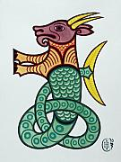 Celtic Knotwork Prints - Capricorn Print by Ian Herriott