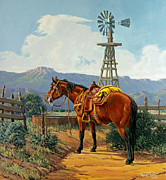 Corral Framed Prints - Caprock Windmill Framed Print by Randy Follis