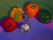 Terry Perham Framed Prints - Capsicums And Salt Framed Print by Terry Perham