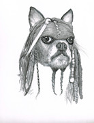 Sparrow Drawings Prints - Capt. Jack Dog Sparrow Print by Karen Stitt