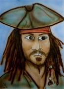 Actors Drawings - Capt. Jack by Pete Maier