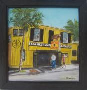 Coconut Trees Paintings - Capt. Tonys Saloon by Linda Cabrera