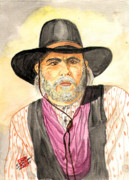 Rangers Paintings - Capt Woodrow Call of Lonesome Dove by Arlene  Wright-Correll