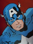 Avengers Painting Originals - Captain America Closeup by Sandi Marengo Lopez