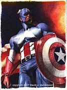 Captain America Drawing Drawings - Captain America by David Vanderpool