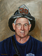 Fireman Paintings - Captain E.J. by Paul Walsh
