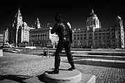 Liverpool Prints - Captain F J Walker CB DSO Royal Navy statue at pier head with the three graces building Print by Joe Fox