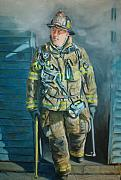 Fireman Paintings - Captain Harris by Paul Walsh