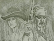Pirates Drawings Posters - captain Jack Sparrow and Angelica Poster by Sandra Valentini