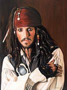 Actors Painting Originals - Captain Jack Sparrow by Caroline Collinson