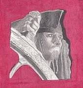 Sparrow Drawings Prints - Captain Jack Sparrow Print by Tara Kearce