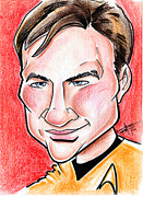 Red Shirts Drawings Prints - Captain James T. Kirk Print by Big Mike Roate
