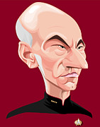 Roddenberry Posters - Captain Jean Luc Picard Poster by Kevin Greene