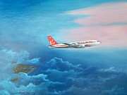 Boeing Paintings - Captain John Travoltas 707 by Dennis Vebert