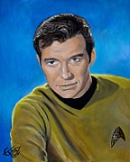 Trek Framed Prints - Captain Kirk Framed Print by Tom Carlton