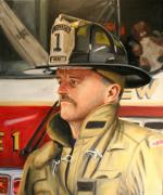 Fireman Paintings - Captain by Paul Walsh