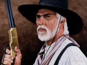 Old West Drawings Prints - Captain Woodrow F Call Print by Rick McKinney
