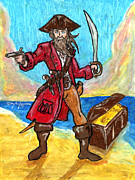 Pirates Pastels Posters - Captains Treasure Poster by William Depaula