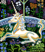 Unicorn Art Paintings - Captive Unicorn by Genevieve Esson