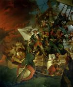 Frigate Painting Prints - Capture of Azov Print by Sir Robert Kerr Porter