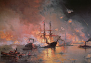 Steam Ships Prints - Capture of New Orleans by Union Flag Officer David G Farragut Print by Julian Oliver Davidson