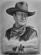 John Wayne Drawings Prints - Captured bw version Print by Andrew Read