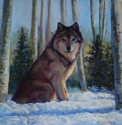 Wolves Pastels Framed Prints - Captured by the Light Framed Print by Billie Colson