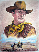 John Wayne Drawings Posters - Captured color version 2 Poster by Andrew Read