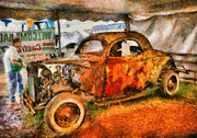 Jalopy Prints - Car - At the car show Print by Mike Savad
