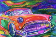 Car Hod Painting Framed Prints - Car and Colorful Framed Print by Evelyn Sprouse Rowe