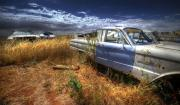 Wrecked Cars Prints - Car Graveyard Print by Wayne Sherriff