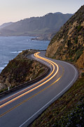 The Main Art - Car Headlights On California Highway 1 by Greg Probst