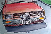 Sketchbook Painting Prints - Car Hood Sketchbook Project Down My Street Print by Irina Sztukowski