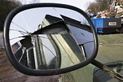 Wing Mirror Photos - Car In A Scrapyard by Mark Williamson