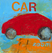 Kids Art Paintings - Car by Laurie Breen