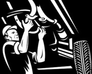 Black Car Prints - Car Mechanic Working Print by Aloysius Patrimonio