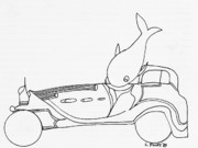 Funny Car Drawings - Car No. 4 by Charles Pulley