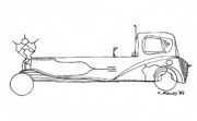 Funny Car Drawings - Car No. 5 by Charles Pulley
