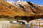 Langdale Framed Prints - Car On Valley Road In Winter At Great Langdale, Lake District National Park, Cumbria, England, United Kingdom, Europe Framed Print by David Tomlinson
