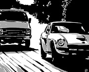 Country Road Posters - Car Passing nr 2 Poster by Giuseppe Cristiano