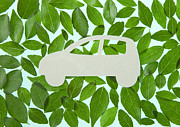 Electric Car Framed Prints - Car Surrounded With Leaves (ecology Image) Framed Print by sozaijiten/Datacraft