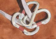 Climbing Posters - Carabiners Poster by Ken Powers