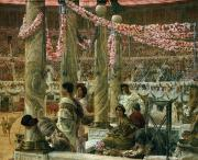 Event Painting Framed Prints - Caracalla and Geta Framed Print by Sir Lawrence Alma-Tadema