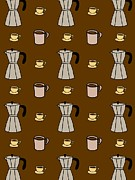 Colored Background Art - Carafe And Mugs Of Coffee On A Brown Background by Lana Sundman